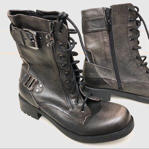 Guess combat charcoal zip up boots